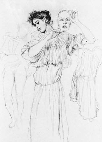Gustav Klimt - Allegorie des Theaters, um 1895, Tuschfeder 39x36 cm
